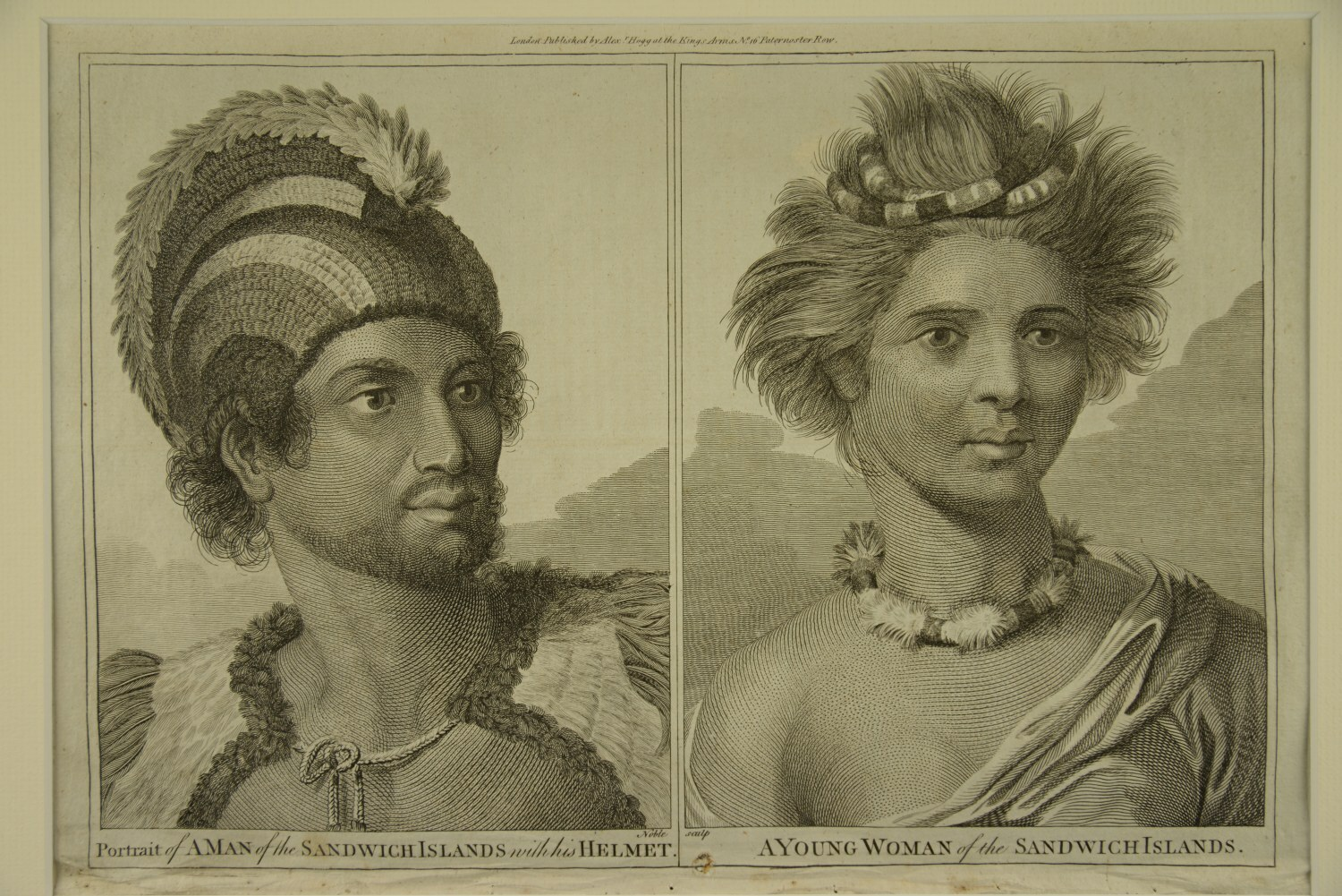 Portrait of a man of the Sandwich Islands with his helmet / A young woman of the Sandwich Islands von John Webber