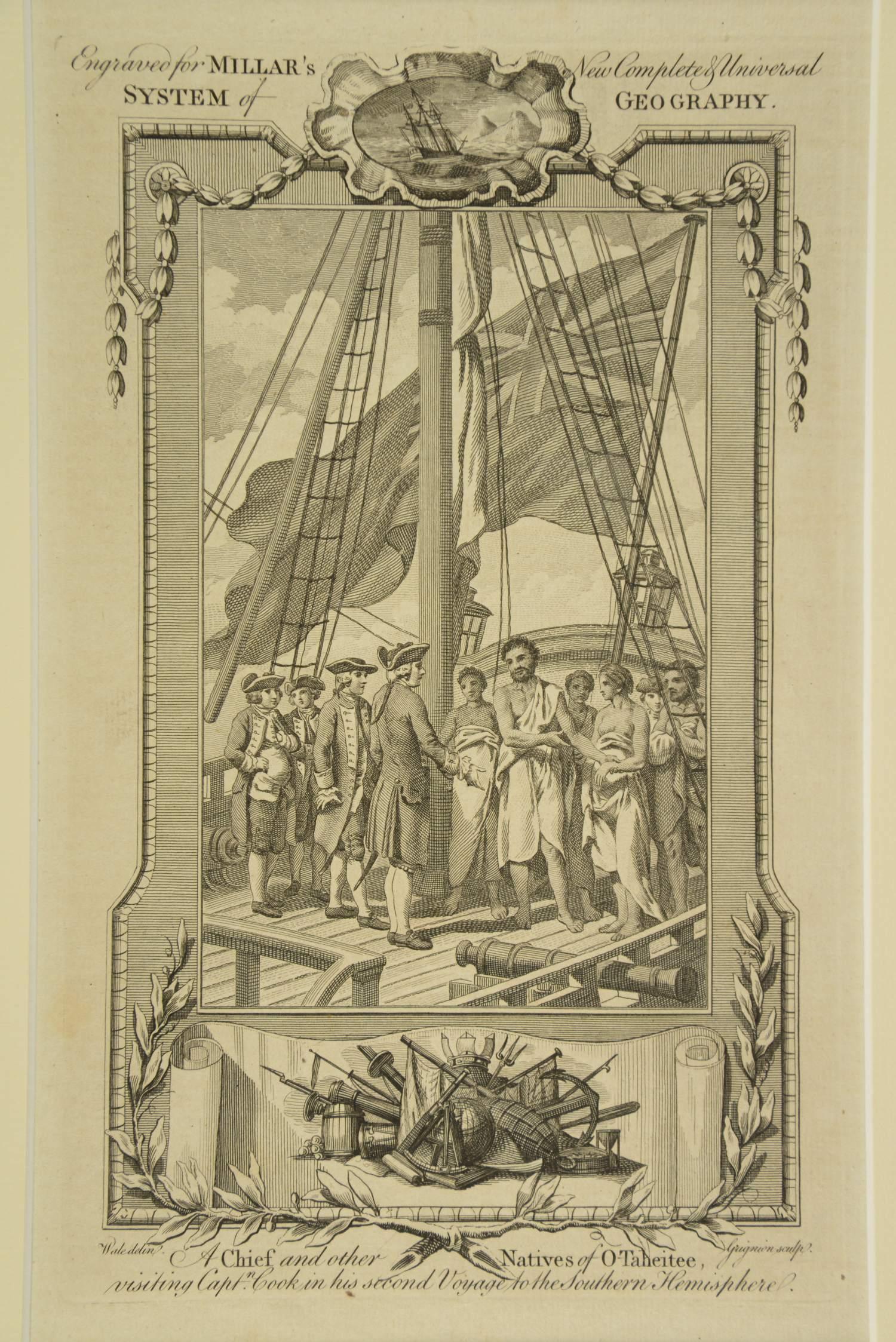 Bewohner von Tahiti besuchen Kapitän Cook