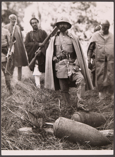 Emperor Haile Selassie with Italian unexploded aerial bombs   Weltmuseum  Wien
